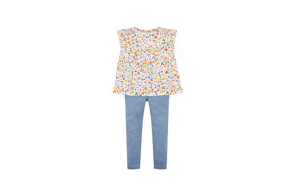 Floral Blouse And Jeggings Set