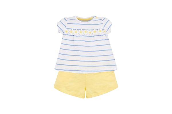 Daisy Stripe Blouse And Shorts Set