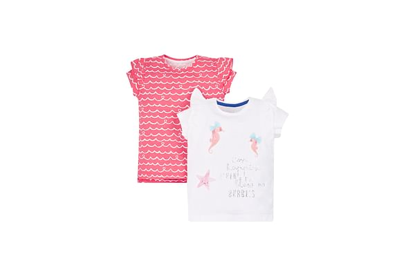 Coral And White Seahorse T-Shirts - 2 Pack