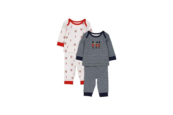 Boys Full Sleeves Printed And Embroidered Soldier Pyjamas - Pack Of 2 - Multicolor