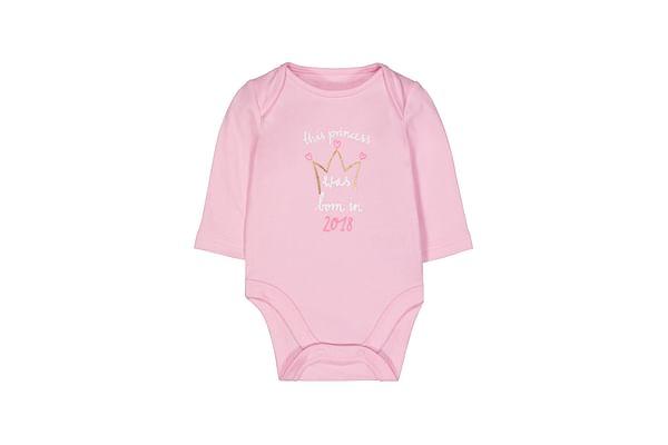 Girls Full Sleeves Bodysuit Glitter Text Print - Pink