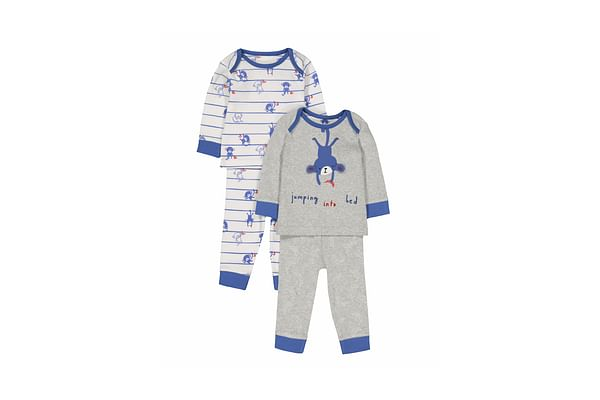 Boys Full Sleeves Novelty And Striped Monkey Pyjamas - Pack Of 2 - Multicolor