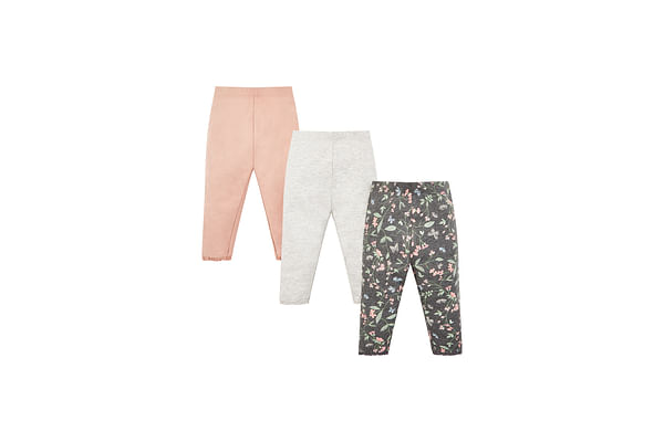 Girls Legging Floral Print With Elasticated Waistband - Pack Of 3 - Pink Grey Black