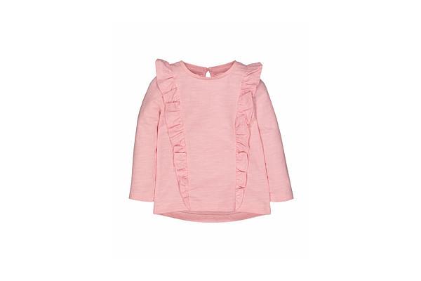 Girls Full Sleeves T-Shirt Frill Detail - Red
