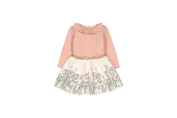 Pink Border Print Twofer Dress