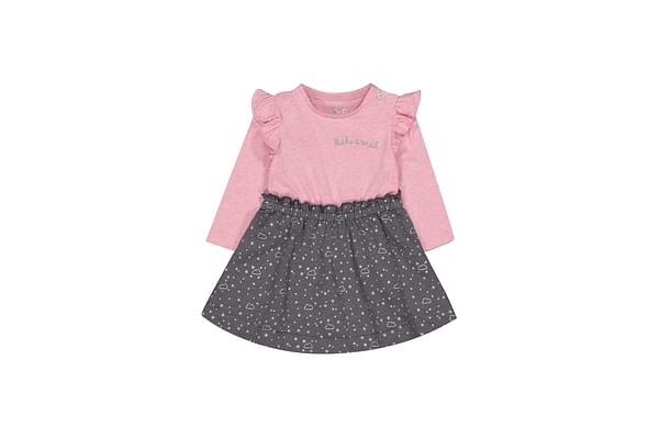 Grey And Pink Stars Twofer Dress