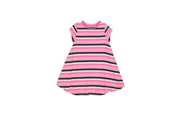 Girls Half Sleeves Striped Casual Dress - Multicolor