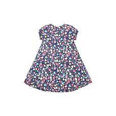 Girls Half Sleeves Floral Print Casual Dress - Multicolor