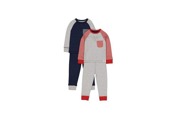 Boys Full Sleeves Pyjamas Raglan Stripe - Pack Of 2 - Navy Red