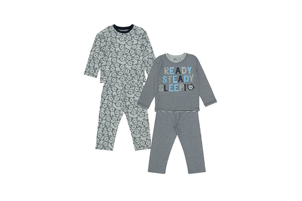 Boys Full Sleeves Pyjamas Monkey Print And Patch - Pack Of 2 - Blue