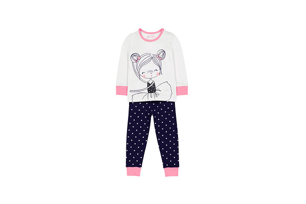 Girls Full Sleeves Pyjamas Dancing Image With Polka Print - White Navy