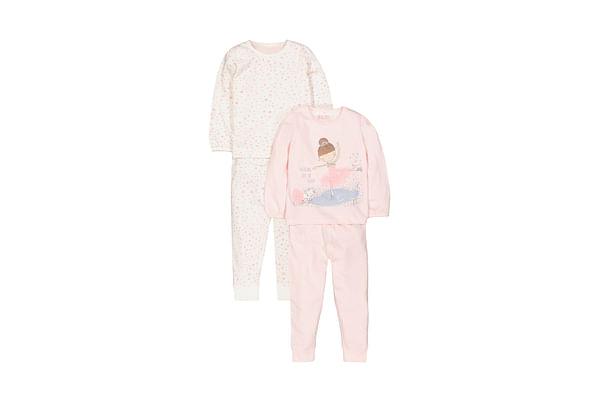 Girls Full Sleeves Pyjamas Ice Skating Graphic Print - Pack Of 2 - Pink White