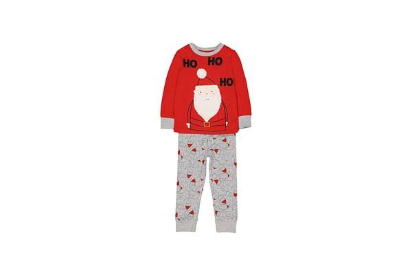 Boys Full Sleeves Pyjamas Christmas Theme Santa Print And Patch - Red