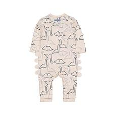 Boys Full Sleeves Novelty Romper Dinosaur Print - Cream