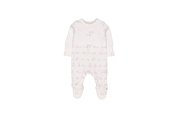 Unisex Full Sleeves Sleepsuit Giraffe Print And Embroidery - White