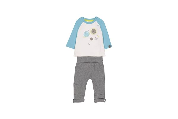 Boys Full Sleeves Bodysuit And Jogger Set Space Glitter Print - Blue Grey