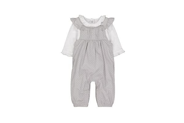 Girls Full Sleeves Cord Dungaree Set Polka Dot Print - Grey