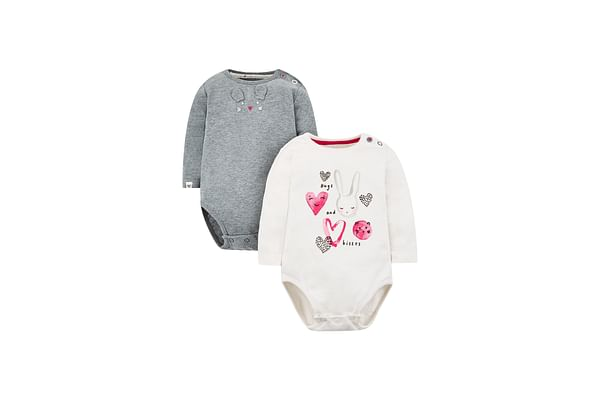 Girls Full Sleeves Bunny Heart Bodysuit - Pack Of 2 - Multicolor