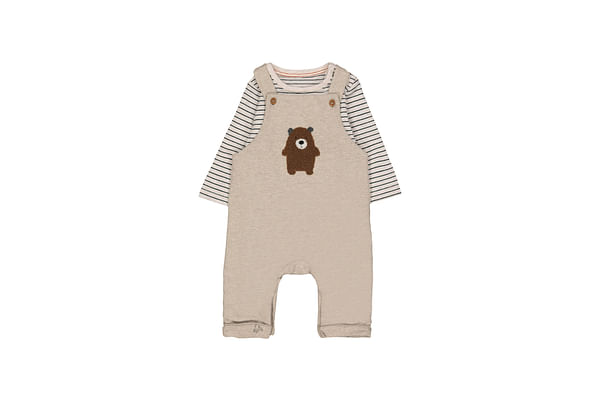 Bear Dungarees And Striped Bodysuit Set