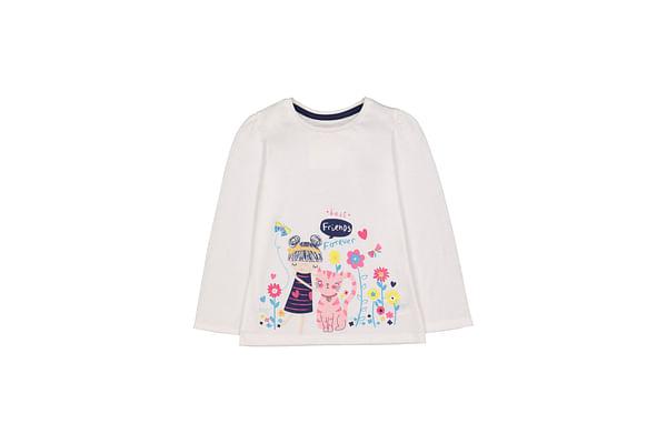 Girls Full Sleeves Cat Border T-Shirt - White