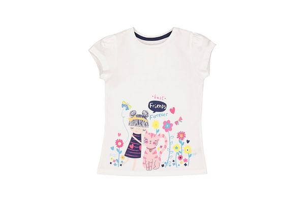 Girls Half Sleeves Cat Border Print T-Shirt - White