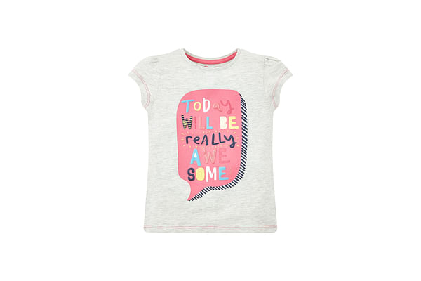 Girls Half Sleeves Text Print T-Shirt - Grey