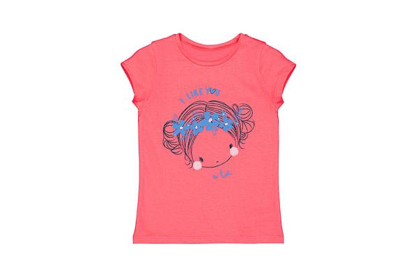Girls Half Sleeves Girl Print T-Shirt - Coral