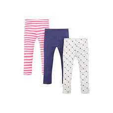 Girls Printed And Striped Leggings - Pack Of 3 - Multicolor
