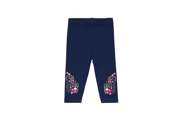 Girls Leggings Floral Embroidered Legging - Navy