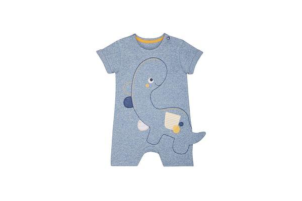 Boys Half Sleeves Embroidered Dinosaur Romper - Blue