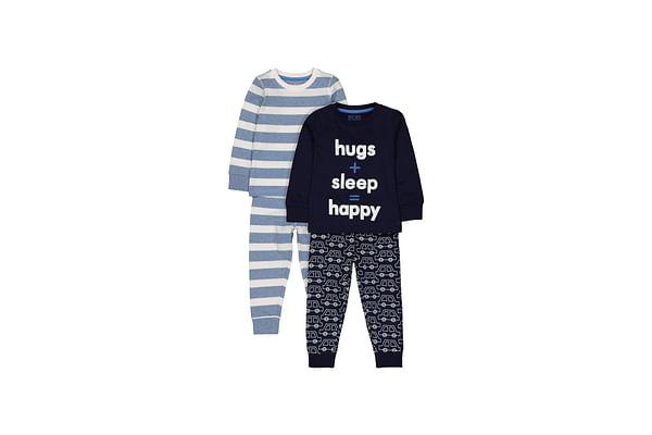 Boys Full Sleeves Pyjamas Cars Print And Stripe - Pack Of 2 - Navy