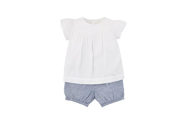 White Blouse And Shorts Set