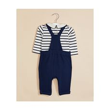 Navy Textured Dungarees And Bodysuit Set