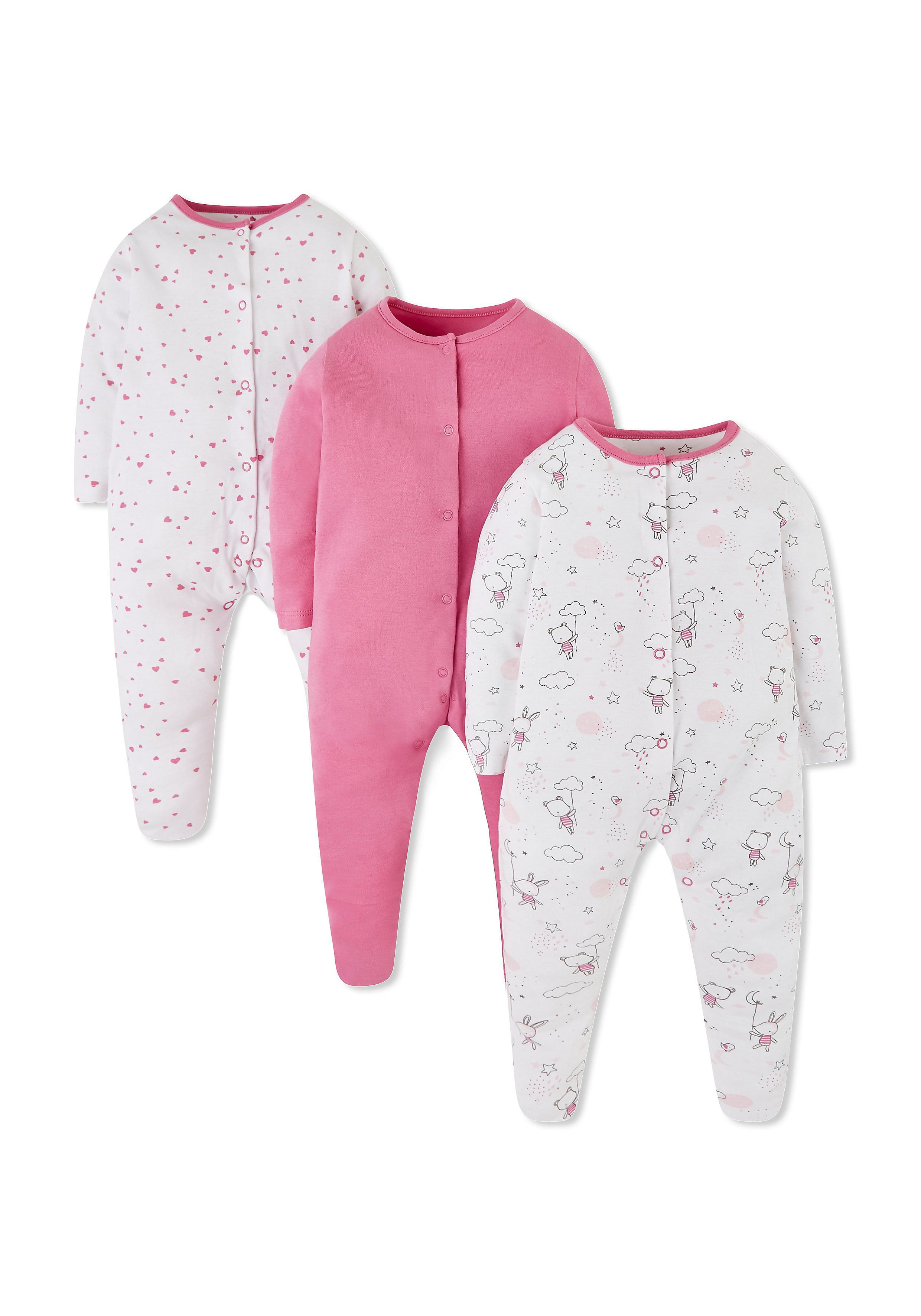 Pink Bunny And Bear Sleepsuits 3 Pack