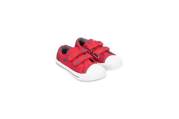 Back To Nursery Red Bus Canvas Trainers