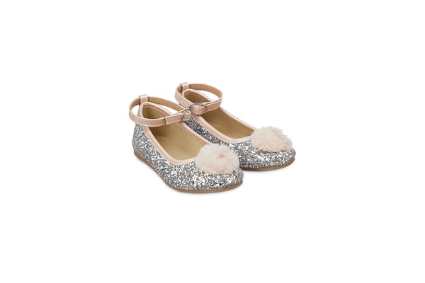 Silver Glitter And Pom Ballerina Shoes