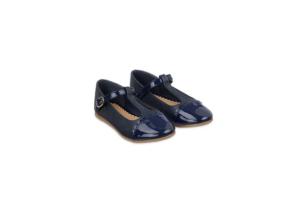 Navy T-Bar Ballerina Shoes