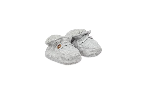 Grey Knitted Sock Top Baby Booties