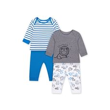 Boys Full Sleeves Pyjamas Stripe And Lion Print - Pack Of 2 - Blue Grey