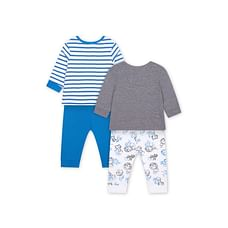 Boys Full Sleeves Pyjamas Stripe And Lion Print - Pack Of 2 - Blue Grey
