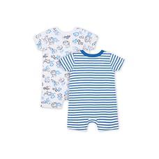 Boys Half Sleeves Tiger Print And Stripe Romper - Pack Of 2 - Blue