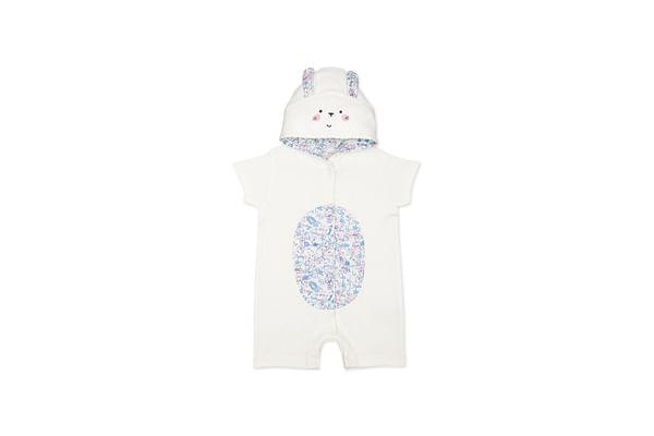 Girls Half Sleeves Bunny Novelty Romper - White