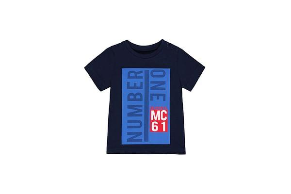 Boys Half Sleeves T-Shirt Text Print - Navy