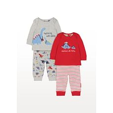 Boys Full Sleeves Dinosaur Patch Pyjamas - Pack Of 2 - Multicolor