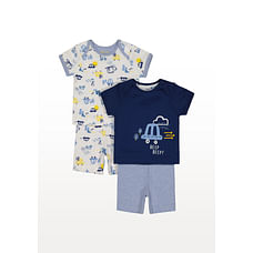 Boys Half Sleeves Vehicle Embroidered Nightsuit - Pack Of 2 - Blue
