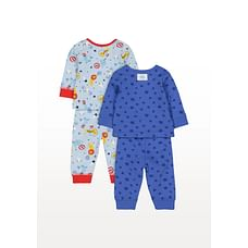 Boys Full Sleeves Circus Text Print Pyjamas - Pack Of 2 - Multicolor