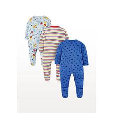 Boys Full Sleeves Circus Print Sleepsuit - Pack Of 3 - Multicolor