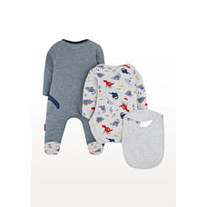 Boys Full Sleeves Explorer Text Print 3 Piece Set - Multicolor