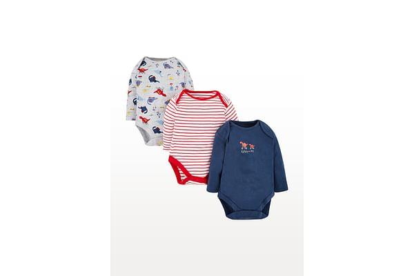 Boys Full Sleeves Dinosaur Print And Stripe Bodysuit - Pack Of 3 - Multicolor