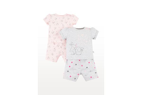 Girls Half Sleeves Night Suit Bunny Print - Pack Of 2 - Pink Grey